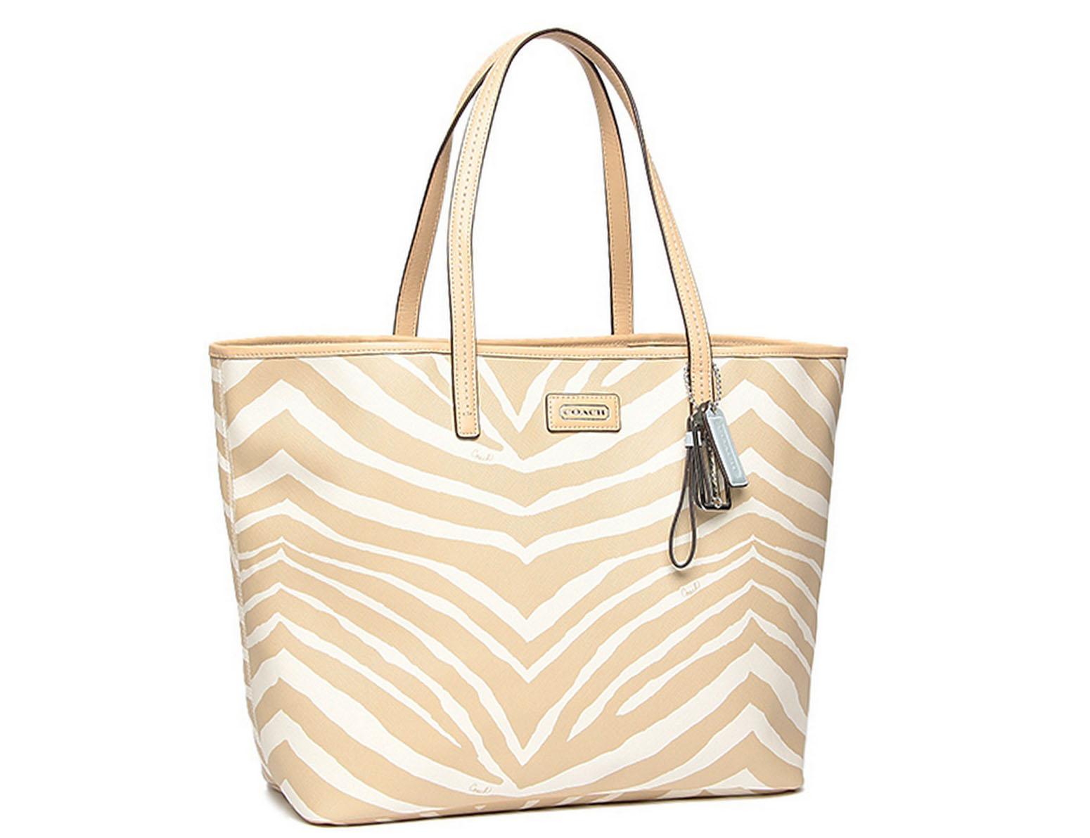 【COACH】COACH 斑馬紋單肩大型包 米白色