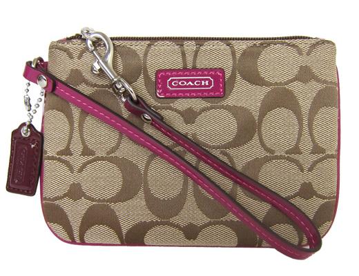 【COACH】COACH 皮標LOGO 織布 手拿包(卡其紫)