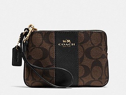 【COACH】COACH  棕色條紋PVC手拿包