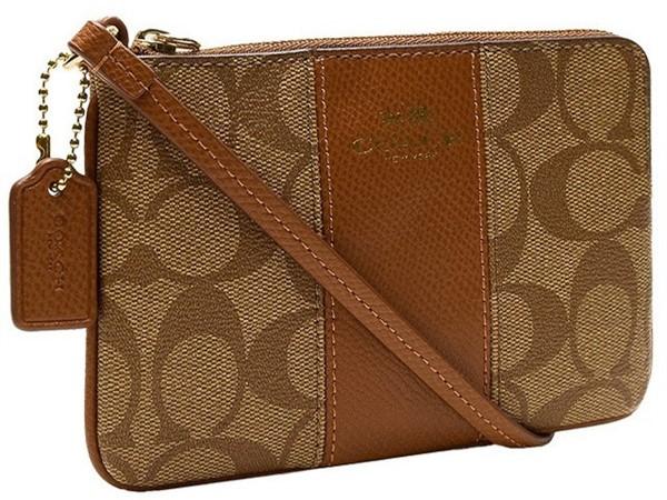 【COACH】COACH  淺棕色條紋PVC手拿包